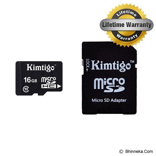 KIMTIGO MicroSD 16GB Class 10 + SD Adapter [KTT-M10] - Micro Secure Digital / Micro Sd Card